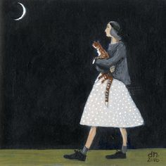 Dee Nickerson. Showing the cat the moon
