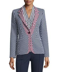 Honeycomb-Print One-Button Jacket, Midnight Blue, Women's, Size: 2/32 - Escada