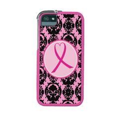 Pink Ribbon Black Damask Breast Cancer Awareness iPhone 5 Cases