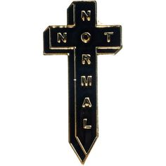 No Hours Not Normal Pin ($6.40) ❤ liked on Polyvore featuring jewelry, brooches, cross jewelry, initial pins brooches, gold filled jewelry, crucifix jewelry and initial jewelry