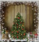 Christmas Gifts Rustic Window Fabric SHOWER CURTAIN Holiday Presents Snowflake
