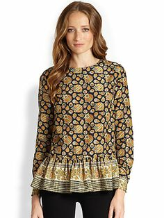 Suno - Silk & Cotton Printed Peplum Top - Saks.com