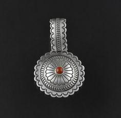 Silver & Coral Pendant by Kee Nataani (Navajo)