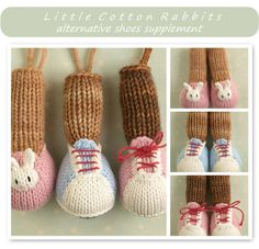 This is a pattern intended to be used as a supplement to any of my knitted animal toy patterns. This pattern is written in English only. Please note that the shoe options are knitted into the toy and are not removable. Included are a pair of bunny slippers and trainers...