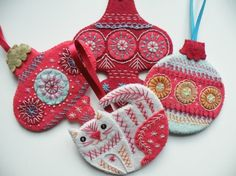 Embroidered ornaments, Nancy Nicholson UK