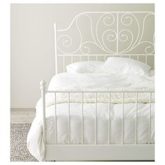 IKEA LEIRVIK bed frame - a classic bed like this in the front spare Cama Ikea, White Bedding, White Bedroom, Bedding Sets, White Ikea Bed, Serene Bedroom, Ikea Leirvik, Cama Vintage, White Metal Bed