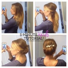 5-minute updo hair tutorial...no curling required! Seriously SO easy. From FunCheapOrFree.com