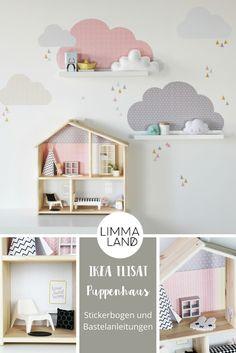 IKEA FLISAT Puppenhaus mit stylischer Einrichtung. Passgenauer Stickerbogen für das Puppenhaus von IKEA aus der FLISAT Serie und viele Bastelideen zum Einrichten des Puppenhauses auf unserem Blog: www.limmaland.com
