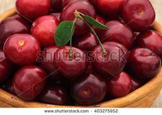 Cherry basket / cherry background / cherry with leaf - stock photo