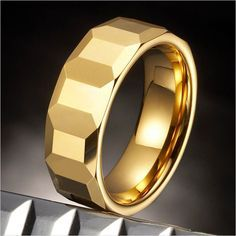 Mens Tungsten Cubes Ring Gold Engagement Wedding Band 8mm | RnBJewellery