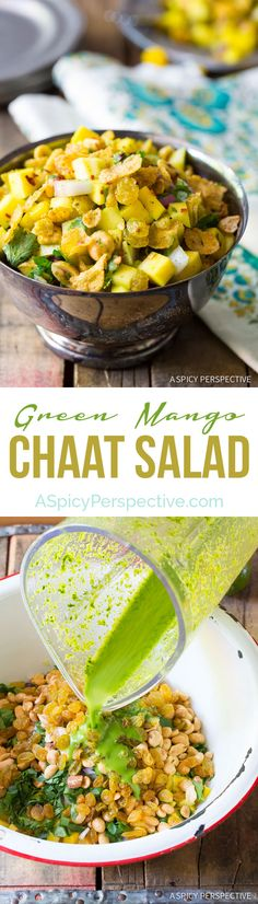 Healthy and Unique Indian Green Mango Chaat on ASpicyPerspective … - Healthy Snacks for Weightloss Indian Salads, Indian Snacks, Indian Dishes, Indian Food Recipes, Vegetarian Snacks, Healthy Snacks, Healthy Recipes, Ovo Vegetarian, Garam Masala