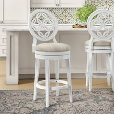 House of Hampton Rachael Bar & Counter Swivel Stool Color: White, Seat Height: Counter Stool Seat Height) White Bar Stools, 24 Bar Stools, Swivel Bar Stools, Wood Counter Stools, Kitchen Stools, Bar Counter, Kitchen Reno, Kitchen Ideas, Kitchen Island