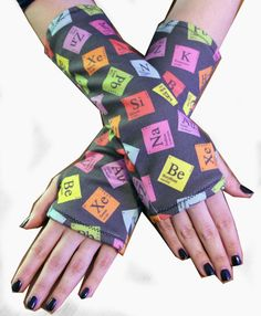 Periodic Elements Armwarmers by GoFollowRabbits on Etsy, $15.00 #chemistry #science #nerd