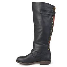 Women's Journee Collection Studded Buckle Detail Boots - Brown 8 : Target