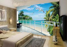 Papier peint photo trompe l'œil 3D - Plage tropicale vue depuis le balcon - Extension d'espace