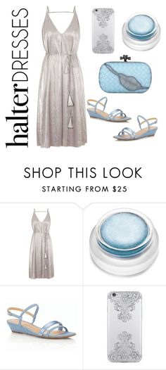 """""""Metallic madness"""" by im-karla-with-a-k ❤ liked on Polyvore featuring Topshop, rms beauty, Talbots, Nanette Lepore, Bottega Veneta and halterdresses"""
