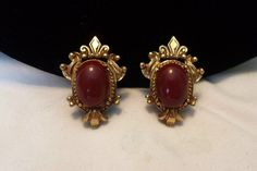 Florenza Victorian Revival Red Carnelian Cabochon Gold Plate | Etsy Carnelian, Clip On Earrings, Cufflinks, Great Gifts, Plating, Victorian, Brooch, Red, Accessories