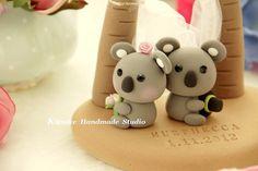 LOVE ANGELS Wedding Cake Topper-love Koala with Palm by kikuike