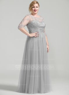 A-Line Princess Scoop Neck Floor-Length Beading Appliques Lace Sequins  Zipper Up Sleeves Sleeves No Silver Plus Mother of the Bride Dress 9eb7301c2b61