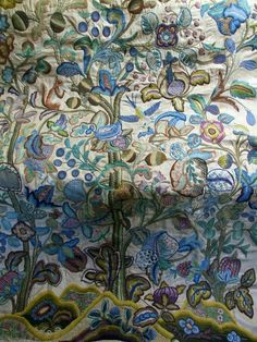 Magnificent Antique English Crewel Embroidery Wall Hanging