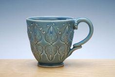 Cornflower blue mug, Victorian Moroccan stamped mug
