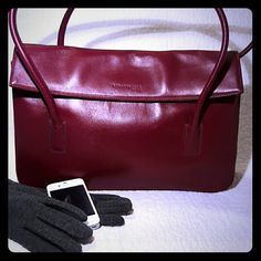 Kenneth Cole Folded Top Tote Kenneth Cole dual rolled handle leather tote with fold over magnetic closure in a beautiful merlot color.  Perfect for work.  Some minor blemishes on leather but good condition overall. Kenneth Cole Bags Totes