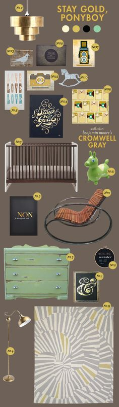 even though this is for a nursery, i like the color scheme for fam rm - diggin the gold accents with the gray.