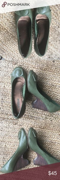 "🆕 Seychelles || Wedge Leather Green Heels Wedge is 3 1/2"". These pinched the back of my friends heel, so she used cushion, I tried them on and they didn't pinch me at all, so just take that into consideration ☺️ Seychelles Shoes Wedges"