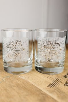 Athens College Town Rocks Glass Set
