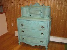 Chic and Shabby Beachy Aqua Dresser / Chest by VintageRebornLaura, $650.00