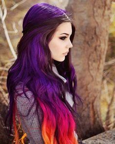 Long purple, pink orange sunset hair. | I imagine a more muted, pastel version of this would work well too!
