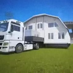 Animated GIF Unusual concept of mobile home Tiny House Cabin, Tiny House Design, Kombi Home, Camper Trailers, Campers, Camper Caravan, Shipping Container Homes, Cool Inventions, House On Wheels