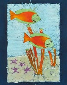 Reef Lovelies...batik art by Pat Nicholson on Grand Cayman Island. Pat started out living in snowy Canada, then fell in love on her honeymoon with the sunny Caribbean. To hear her story, visit http://www.communicationdiva.com/54