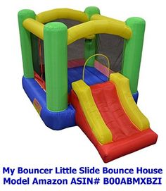 "New Improved - My Bouncer Little Castle Bounce 118"" L x 78"" W x 72"" H Ball Pit Bopper w/ Slides & Ball Hoop - Phthalate Free Puncture Resist Nylon Material - (Other Models & Sizes Available, Sold thru Separate Amazon Listings). Perfect for use indoors, and yet providing a spacious & safe play area. Overall size measured 92'' d ( 78'' for the bounce house + 14'' required for blower clearance ) x 118'' w ( 78'' for the bounce house + 38'' for the slide ) x 72'' h . Built-in ball hoop(1)…"