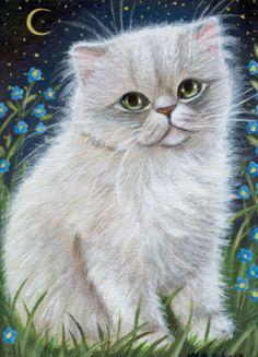 White Persian Kitten Painting
