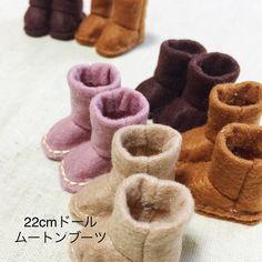 リカちゃんムートンブーツ手作りキット Minne, Baby Shoes, Slippers, Dolls, Handmade, Design, Cute Pictures, Zapatos, Handicraft