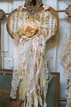 Shabby chic heart wall hanging pale creamy by AnitaSperoDesign, $55.00