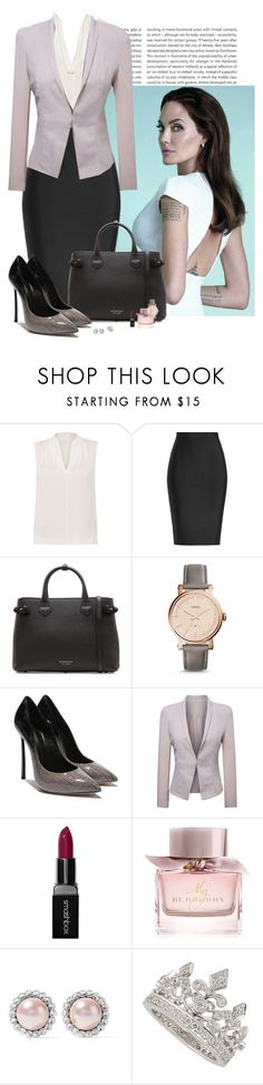 """""""Chief Executive Officer"""" by spells-and-skulls ❤ liked on Polyvore featuring Oris, Vanity Fair, Elie Tahari, Roland Mouret, Burberry, FOSSIL, WithChic, Smashbox, Miu Miu and Garrard"""