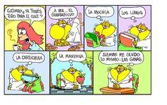 Gaturro - Vuelta al cole Funny Spanish Memes, Spanish Humor, Castellano Spanish, Teaching Spanish, Back To School, Ads, Comics, Twitter, Frases