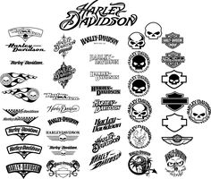 Harley logos all in one place Harley Davidson Decals, Harley Davidson Tattoos, Classic Harley Davidson, Used Harley Davidson, Harley Davidson Motorcycles, Harley Panhead, Harley Davidson Knucklehead, Harley Davison, Motorcycle Logo