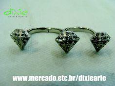 Anel Duplo Diamantes  www.mercado.etc.br/dixiearte