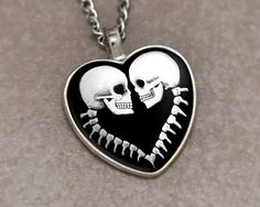 Skull and Backbone Couple Heart Necklace Pendant