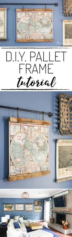 OMG, this DIY map art is amazing. Totally excited about how to make picture frames like this and I love how they are hanging from pipe!