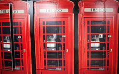 Bathrooms covered up to look like British phone booths
