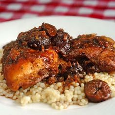 Moroccan braised chicken with figs (or dates) on couscous - from Rock Recipes