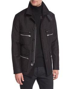 Satin-Cotton Field Jacket, Black