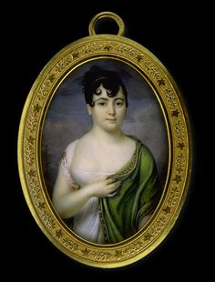 Jacques Delaplace    Lady in White Dress with Green Scarf    circa 1805