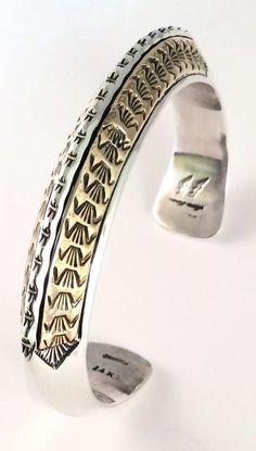 Native American Large Sterling Silver &14kt Gold Apache Marc Antia Cuff Bracelet #NativeAmerican #Cuff