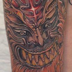 사자탈타투 korea lion mask tattoo detail