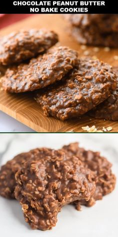 I am absolutely obsessed with these classic chocolate peanut butter no bake cookies. They are moist and chewy and oh so tasty. Growing up, my mom always made these simple, quick drop cookies from scratch. Chocolate Cookie Recipes, Easy Cookie Recipes, Chocolate Chip Cookies, Baking Recipes, Oatmeal Cookie Recipes, No Bake Recipes, Chocolate Rice Crispy Treats, Oatmeal No Bake Cookies, Easy Chocolate Fudge